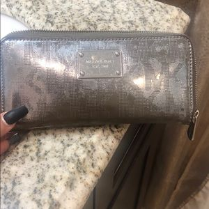 Michael Kors gunmetal MK wallet